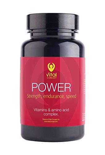 POWER – L-Carnitin, Magnesium, Vitamin B Komplex, Vitamin C, Guarana. Kraft, Ausdauer und Geschwindigkeit tabletten. Kombination von Vitaminen und Aminosäuren. 60 pflanzliche Kapseln, GVO – und gluten