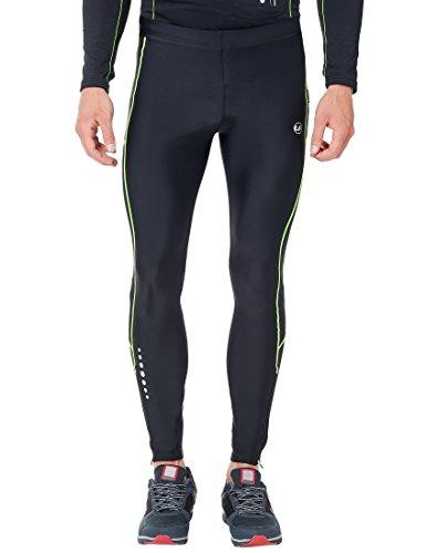 Ultrasport Herren Laufhose lang, für Laufen, Radfahren, Fitness etc., angenehmes Tragegefühl durch hohen Stretchanteil, mit Quick-Dry-Funktion, Schwarz/Neon Gelb, L