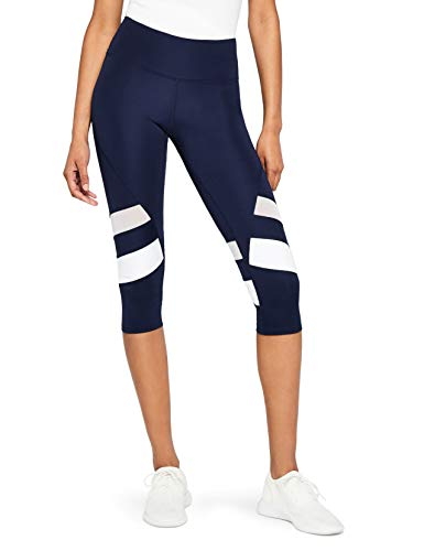AURIQUE Damen Sportleggings Blau (Navy/White Navy/White), 38(Herstellergröße: M)